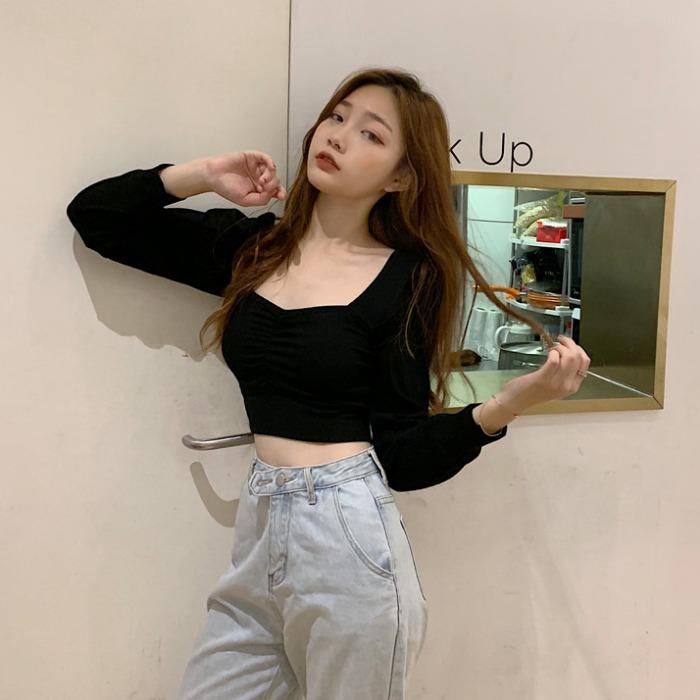 「トップス」女性らしいファッションセクシーミニ3色エレガント長袖tシャツ
