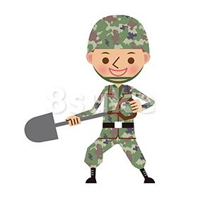 イラスト素材:シャベルを持つ自衛官・軍人(ベクター・JPG)