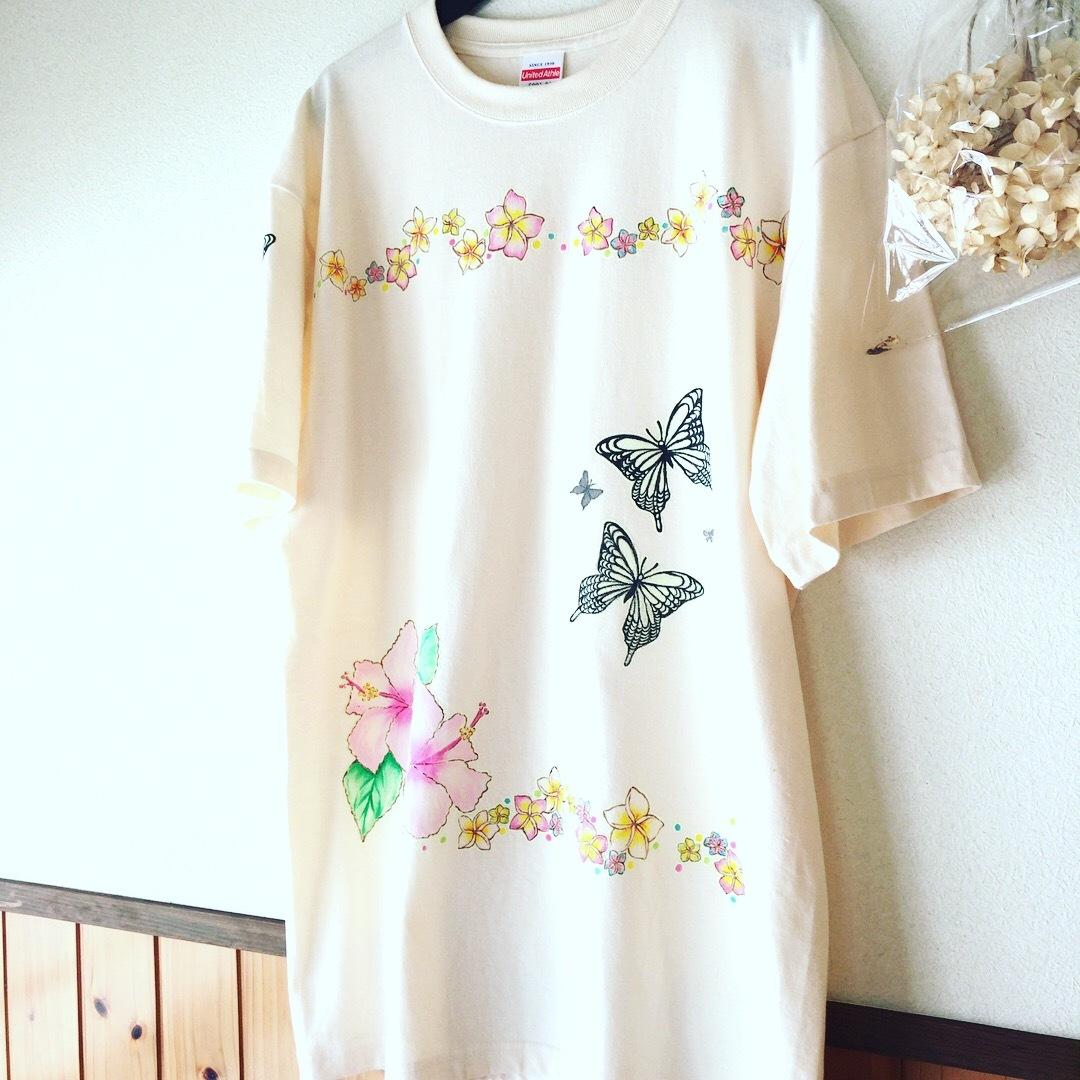 【限定1枚】2パターン楽しめる!光る手描きTシャツ【ハイビスカス】XLサイズ