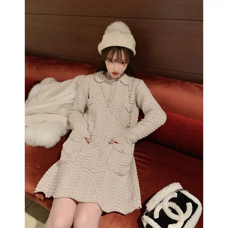 wave hem knit dress