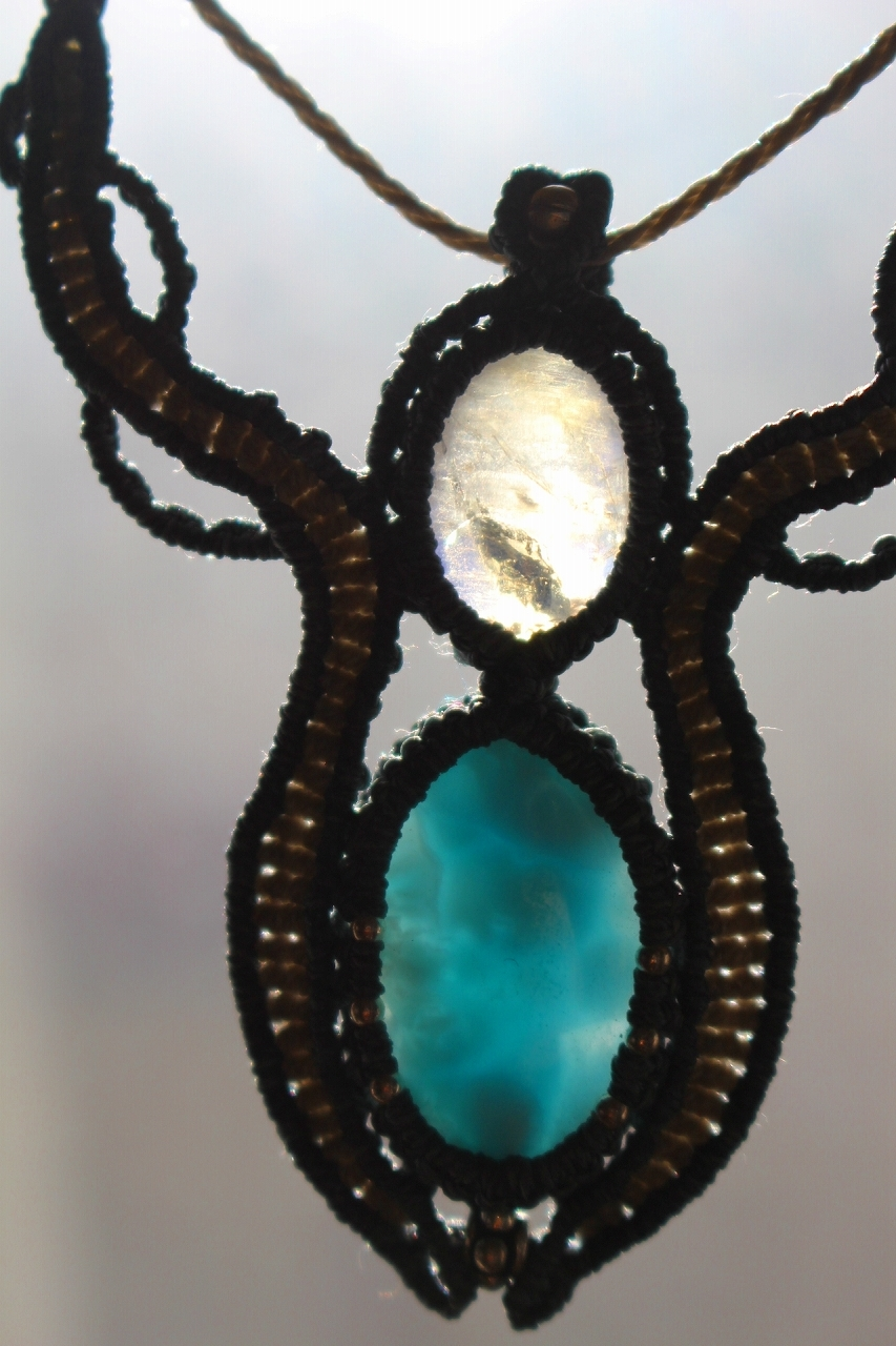 Larimar Bluemoonstone macrame necklace