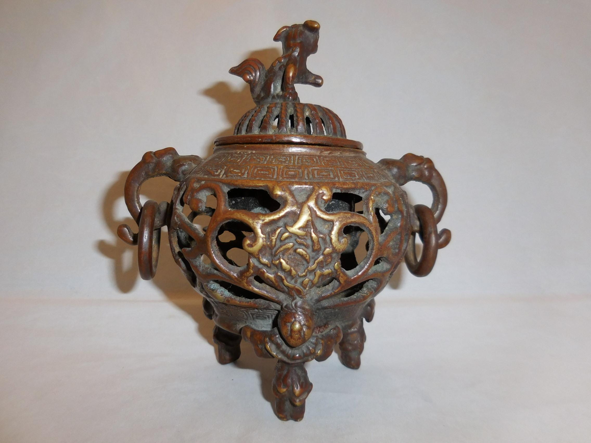 銅透かし香炉 copper incense burner(No24)