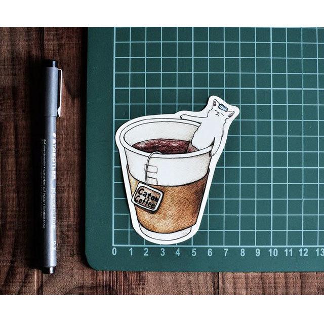 猫 防水ステッカー(コーヒー)