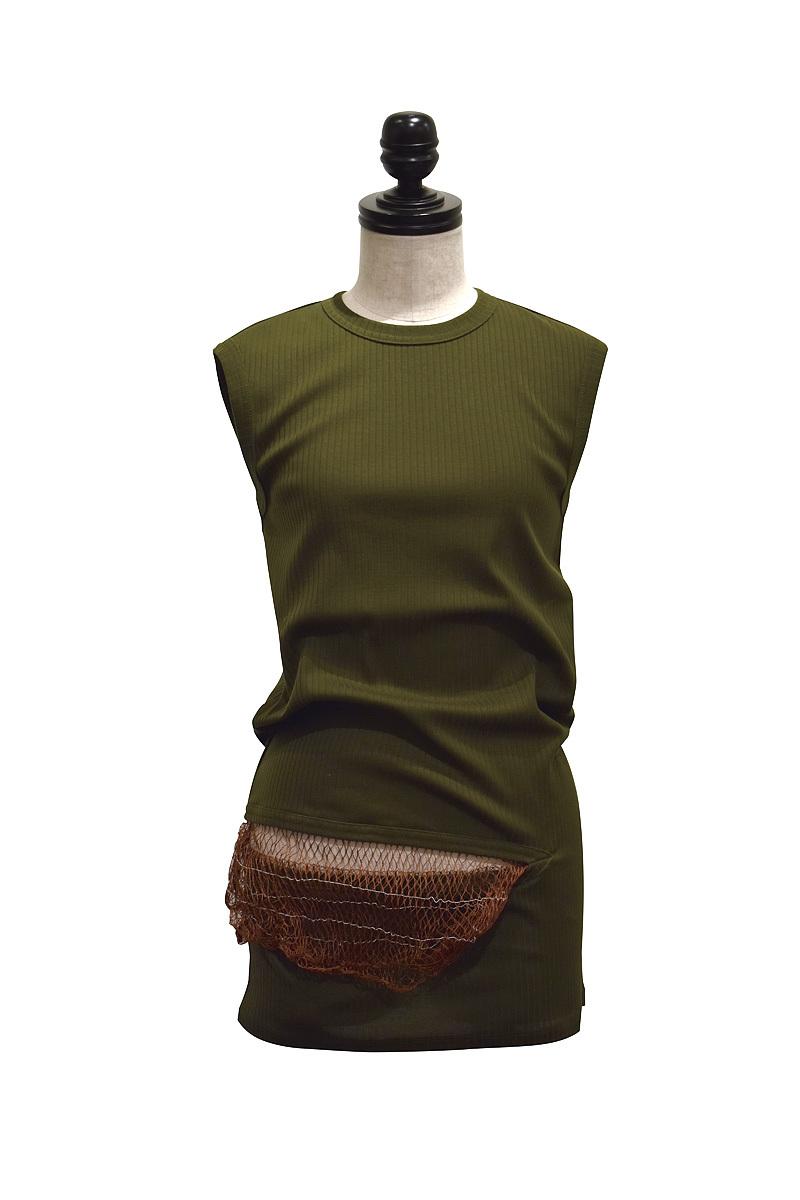 NAIFE™ / Slashed hem tank top / GREEN