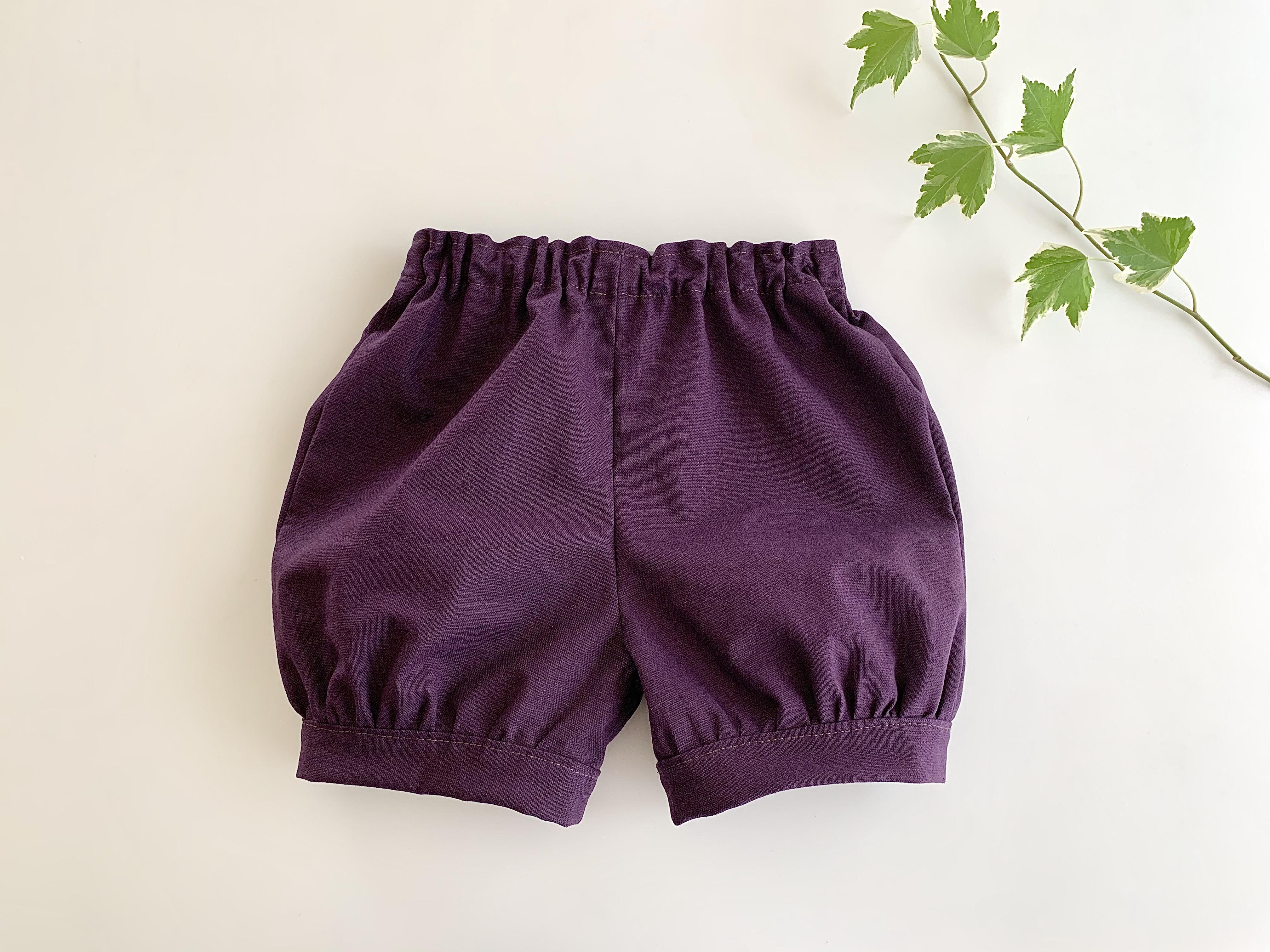綿麻の かぼちゃパンツ・紫色無地 80cm