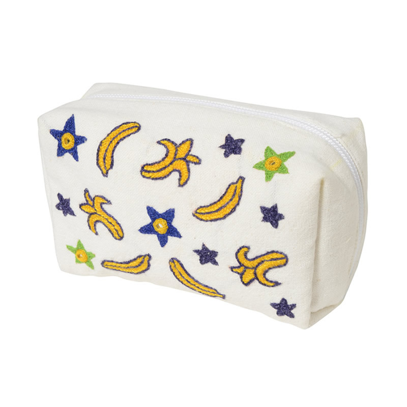 【第3世界ショップ】ミラー刺繍 マチ付きポーチ(白)