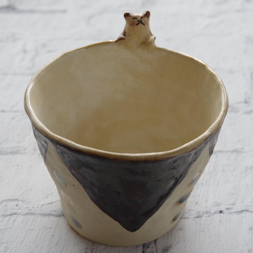 やちむん【小澤早苗】猫つきカップ