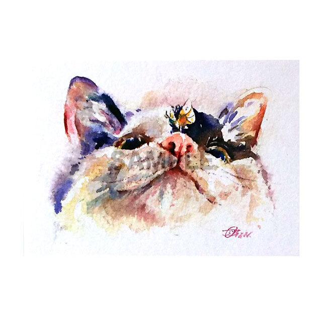 台湾ポストカード 水彩猫「蝶恋花猫」