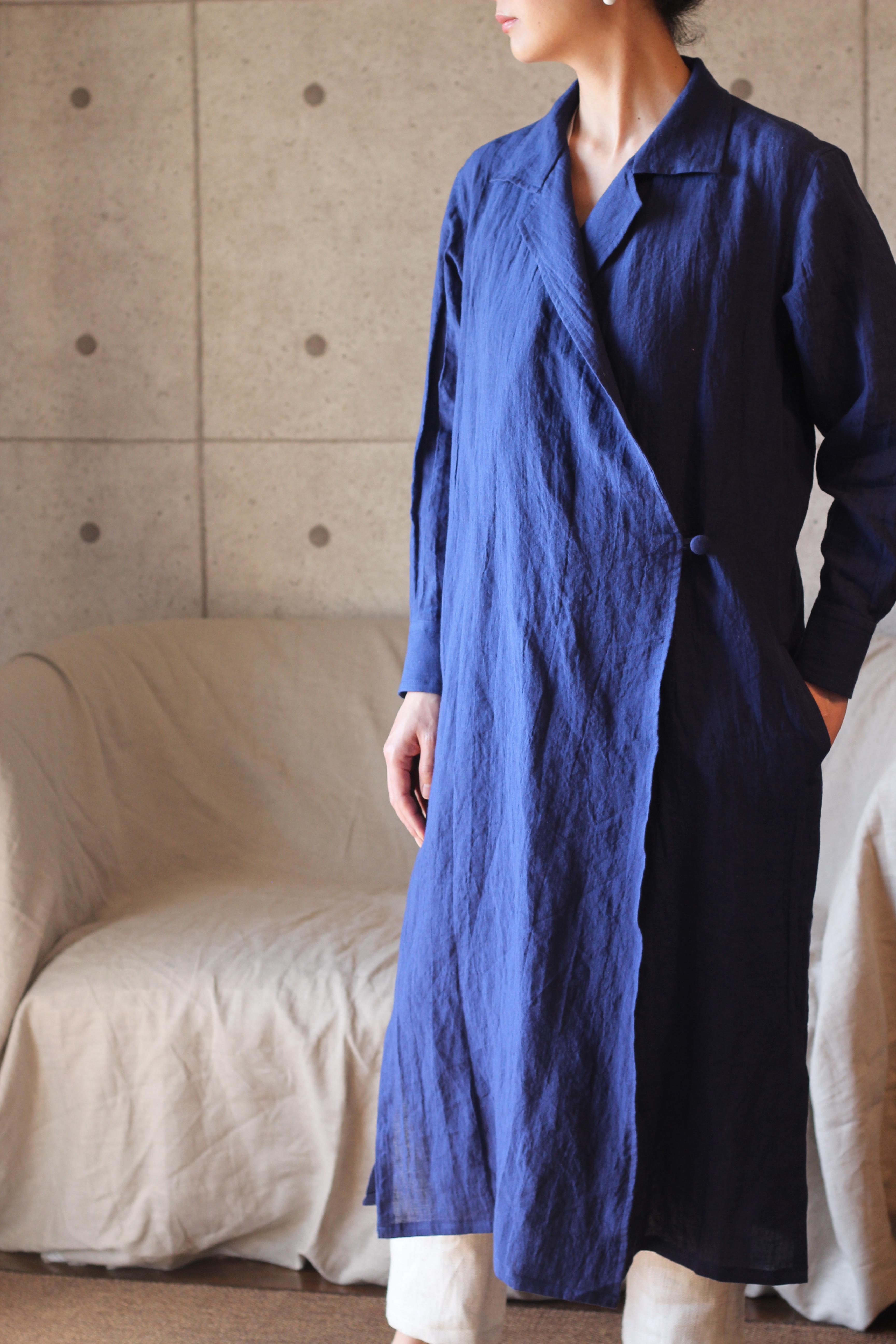 Linen shirt coat (Navy) リネン シャツコート