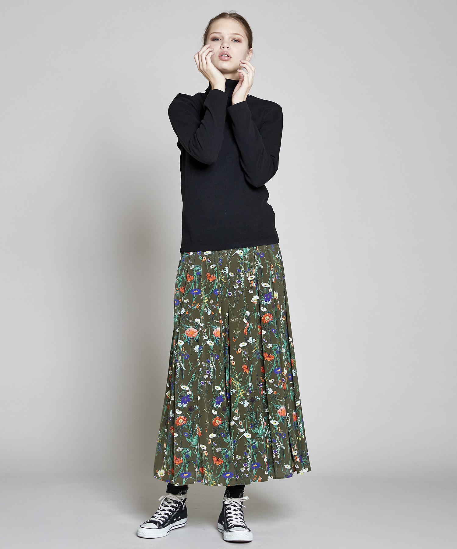 【数量限定】ボタニカル花柄スカート(カーキ)