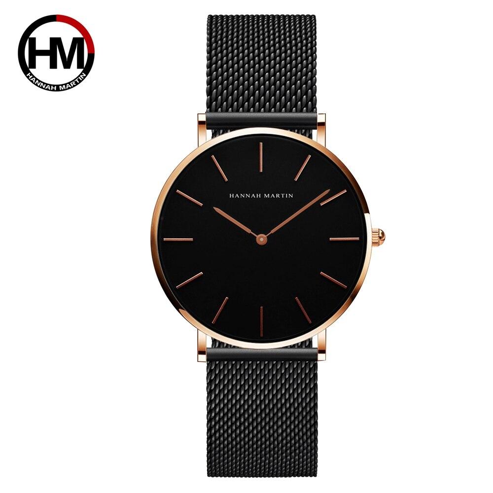 36ミリメートル新着ローズゴールド黒シンプルなバウハウスのデザイン日本クォーツレディースステンレス鋼超薄型防水女性の腕時計CH36-WFH2