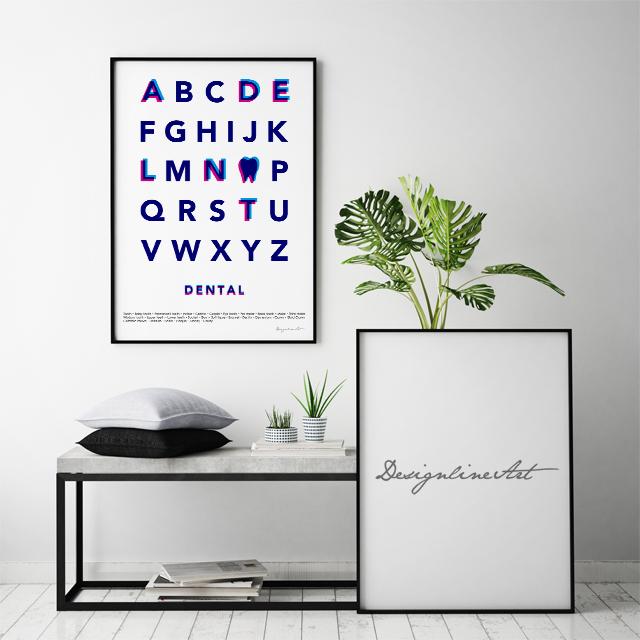 Typography(DENTAL) B3ポスター(フレーム入り)