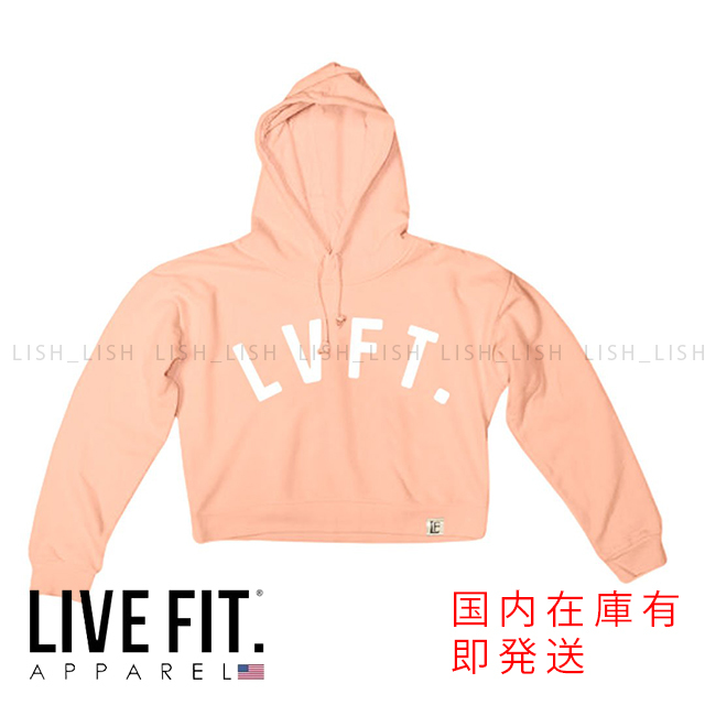 LIVE FIT University Cropped Hoodie - Peach / White