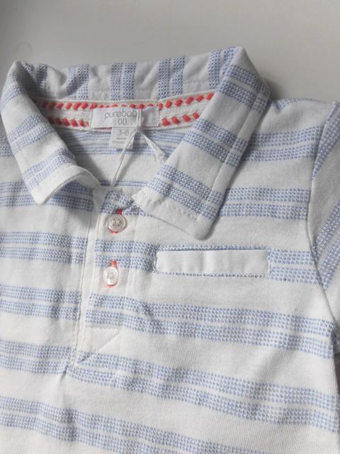 オーガニックコットン 半袖ボーダーポロシャツ ベビー服 【purebaby】