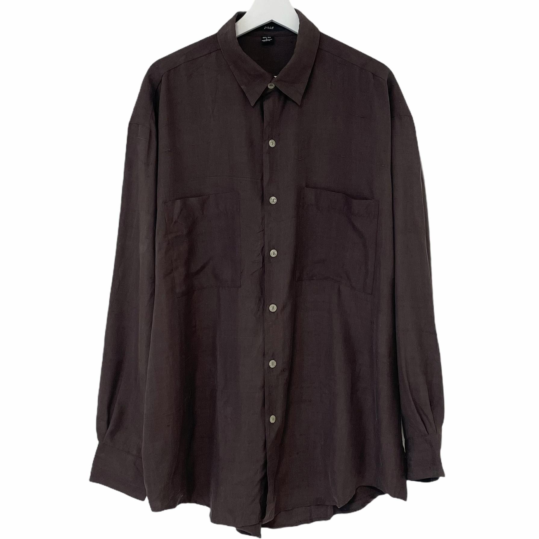 Dead Stock 90's phiz Silk Shirt 【 BROWN 】
