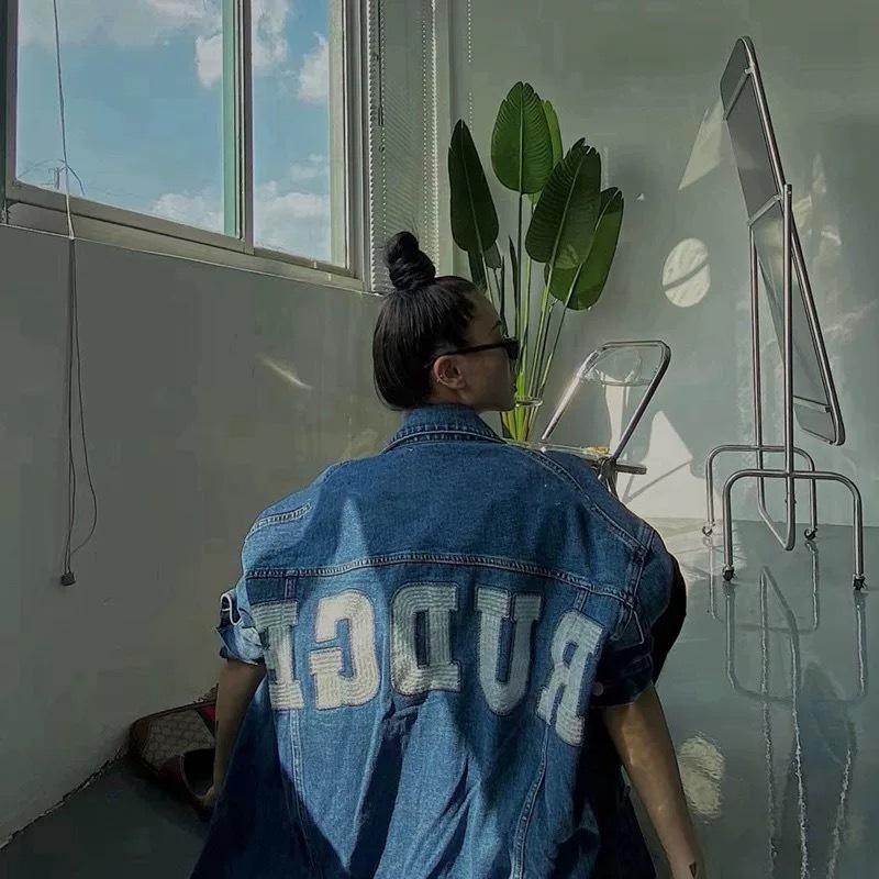 rudge back logo denim jacket