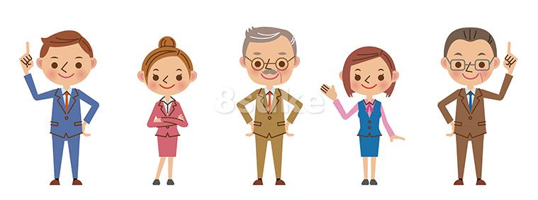 イラスト素材:笑顔のビジネスチーム(ベクター・JPG)
