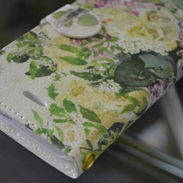 和バラとツマキチョウ 手帳型スマホケース Android Lサイズ