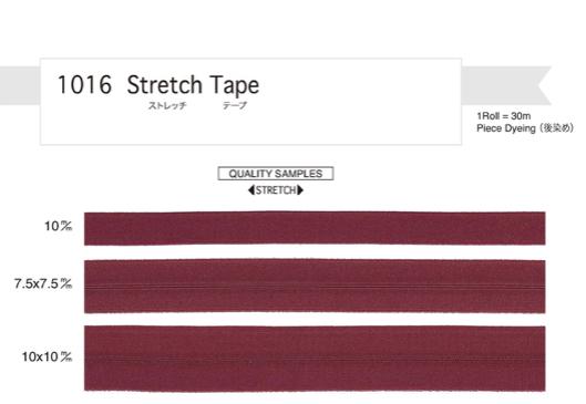 リュックのサイドの伸びるポケット用に ストレッチ ゴム テープ 15mm幅(7.5mm上がり) 黒 1巻30m