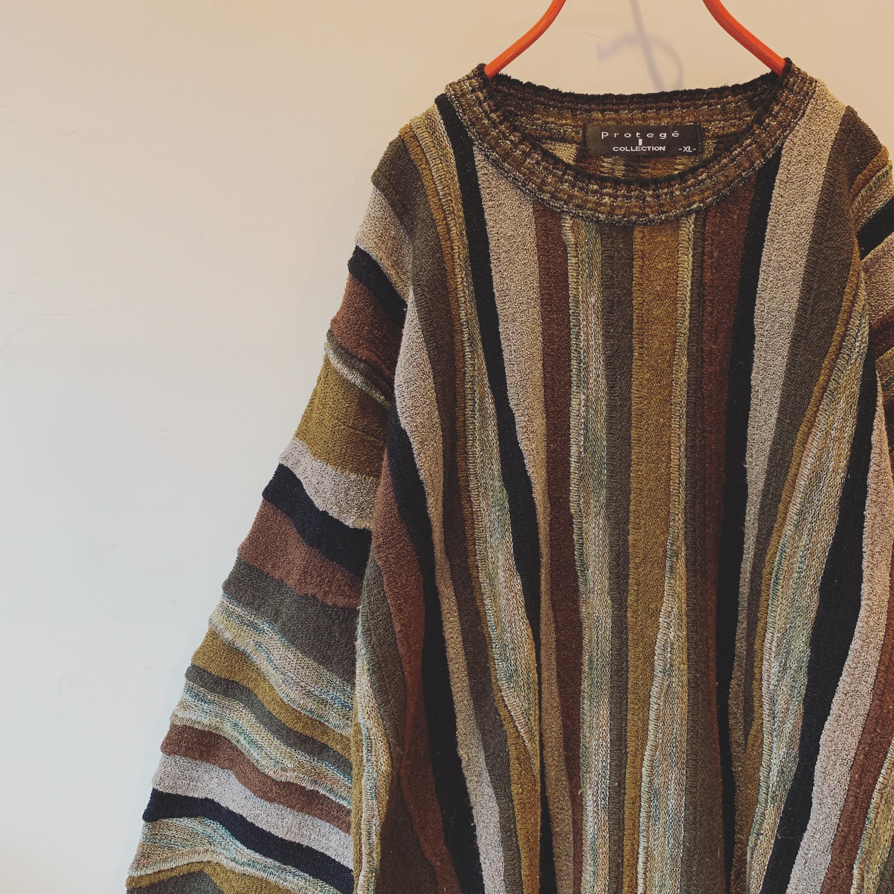 vintage design 3D knit sweater