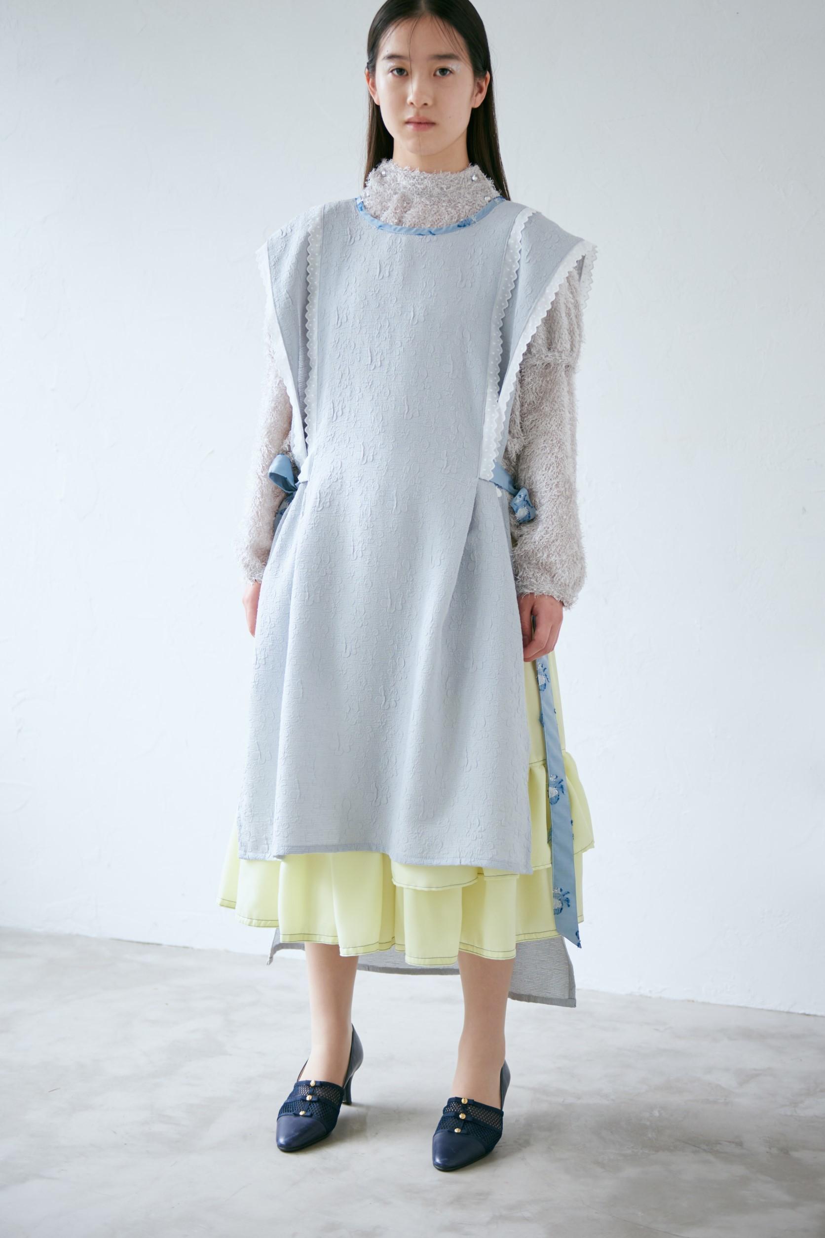 blue stitch tiered skirt〈Yellow・ティアードスカート〉