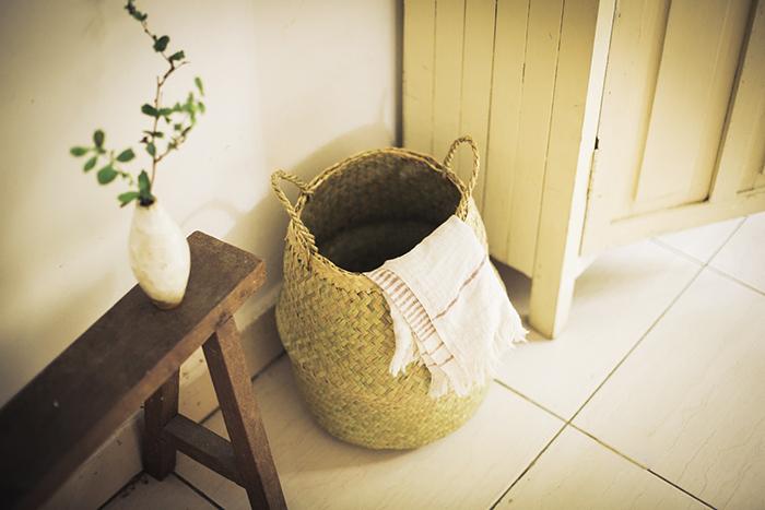 水草の筒型 籠バッグ S