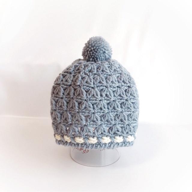 キッズのポンポンニット帽*ブルー