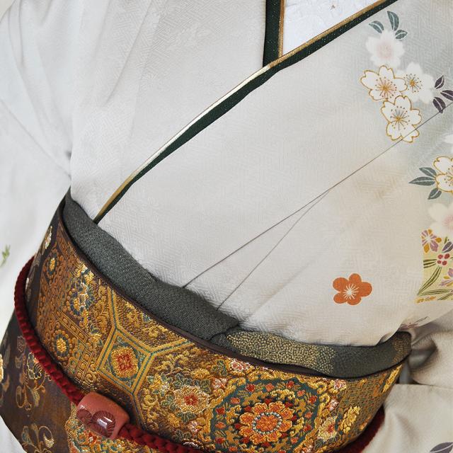 訪問着レンタル■上品な薄グレー地に菊や桜の花柄■正絹フリーサイズhu8〔往復送料無料〕 - 画像1