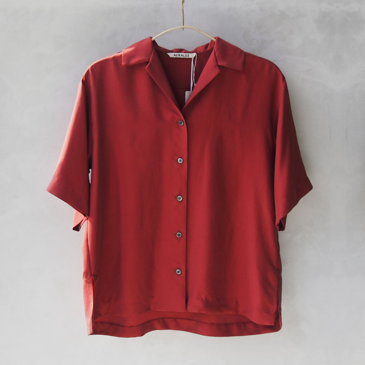 AURALEE SILK BRUSHED TWILL HALF SLEEVED SHIRTS RED