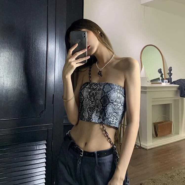 snake pattern bra top
