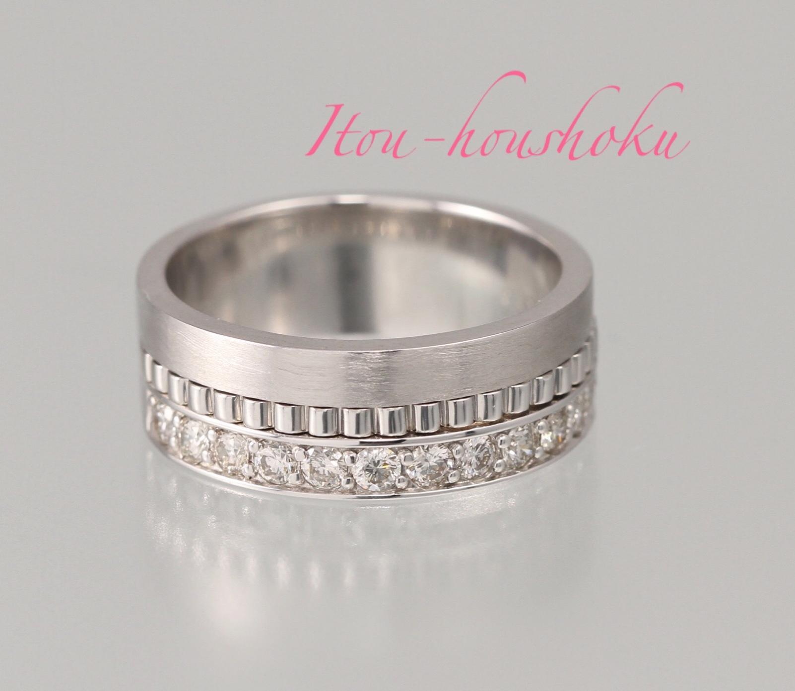 結婚指輪にも!幅広ホワイトゴールドリング!