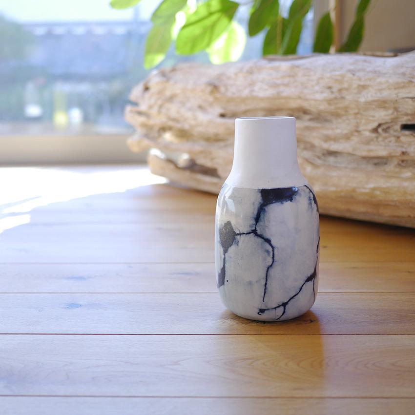 陶器 クラックブルー ラウンド