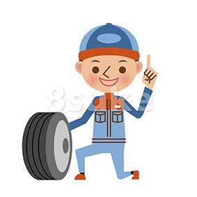 イラスト素材:タイヤ交換をする自動車整備士(ベクター・JPG)