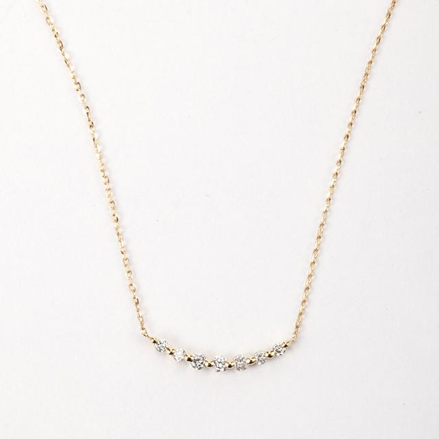 ダイヤモンド バーネックレス 0.10ct K18イエローゴールド/ホワイトゴールド   チェカ 鑑別書付