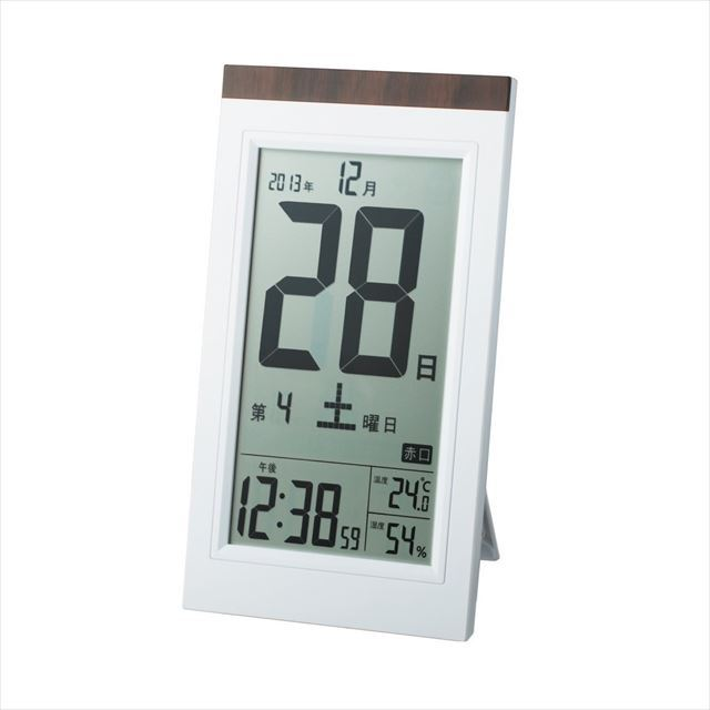 デジタルクロック 電波目覚まし時計 日めくり電波時計 デジタル表示 置き掛け兼用 ホワイト KW9254  アデッソ - 画像1