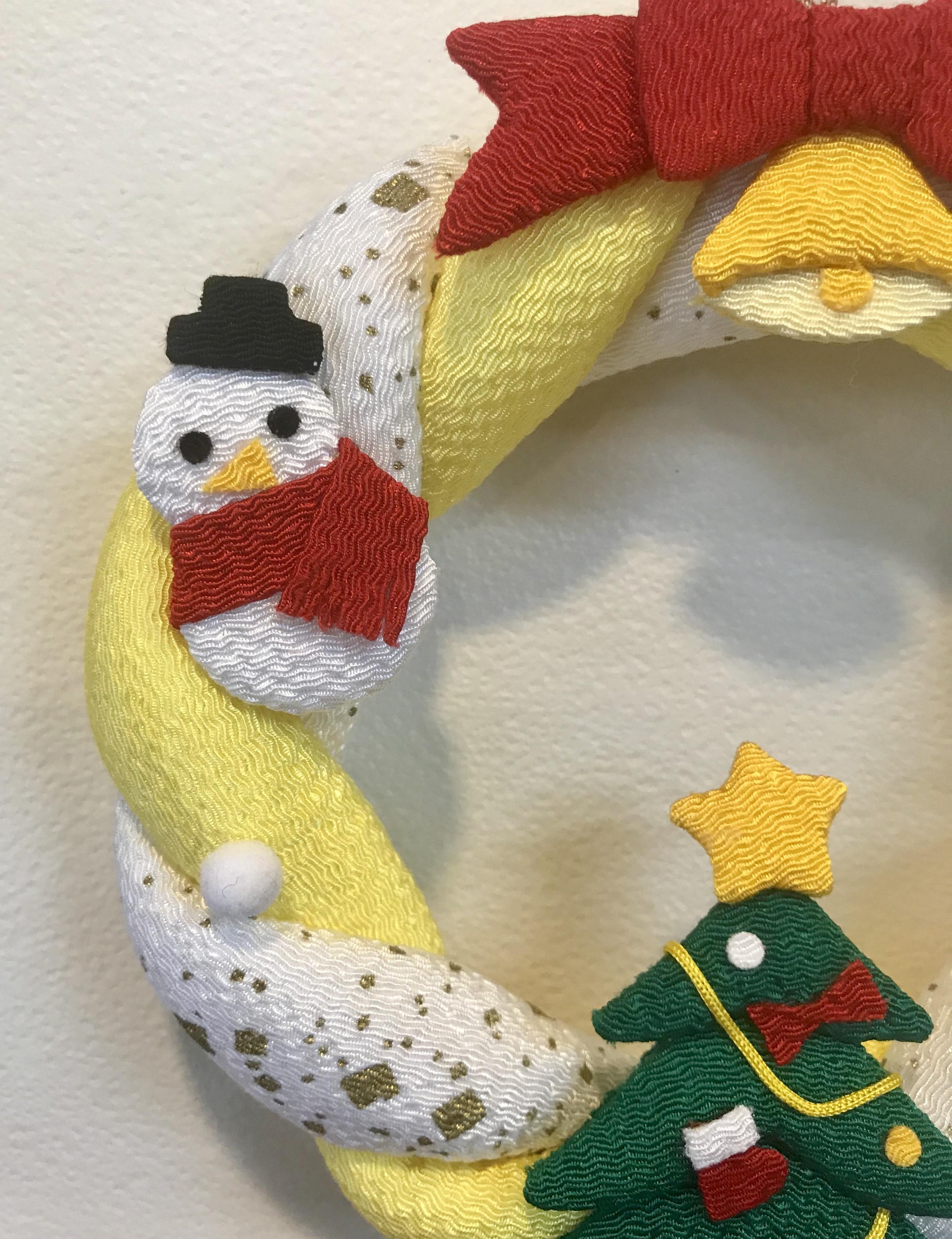 クリスマス☆ちりめんリース(イエロー×ホワイト)