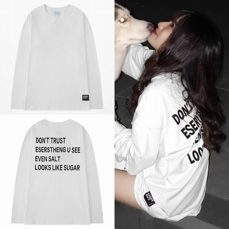 ユニセックス 長袖 Tシャツ メンズ レディース プリント 英字 プリント オーバーサイズ 大きいサイズ ストリート