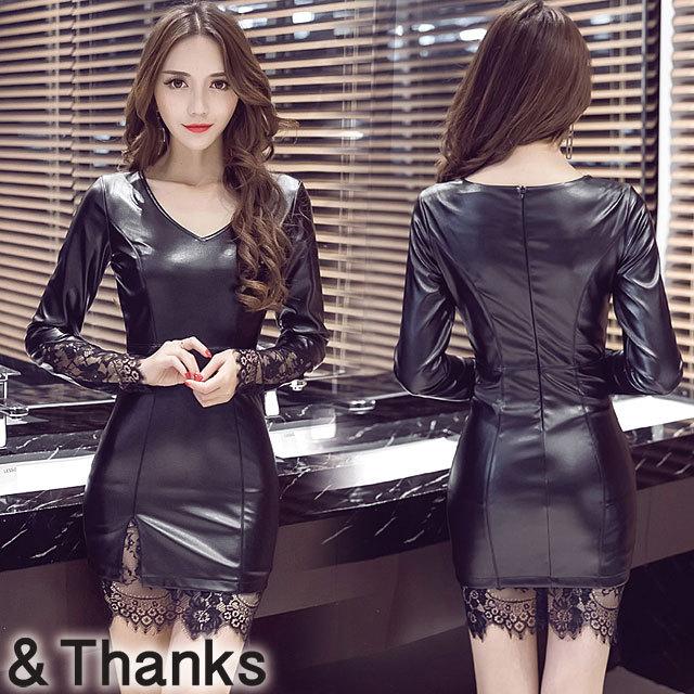 ドレス特集 PUレザータイトドレス 1カラー 4サイズ