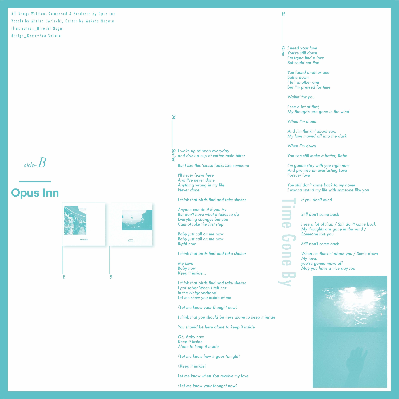【Vinyl】Opus Inn 1st EP『Time Gone By』