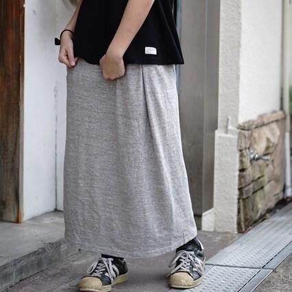 【おとなサイズ】10年履ける!旧式吊り編み機織 おとなのロングスカート ライトグレー/杢グレー