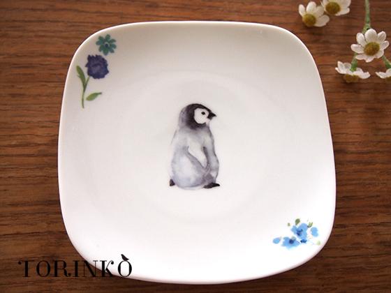 ペンギンとお花 皿