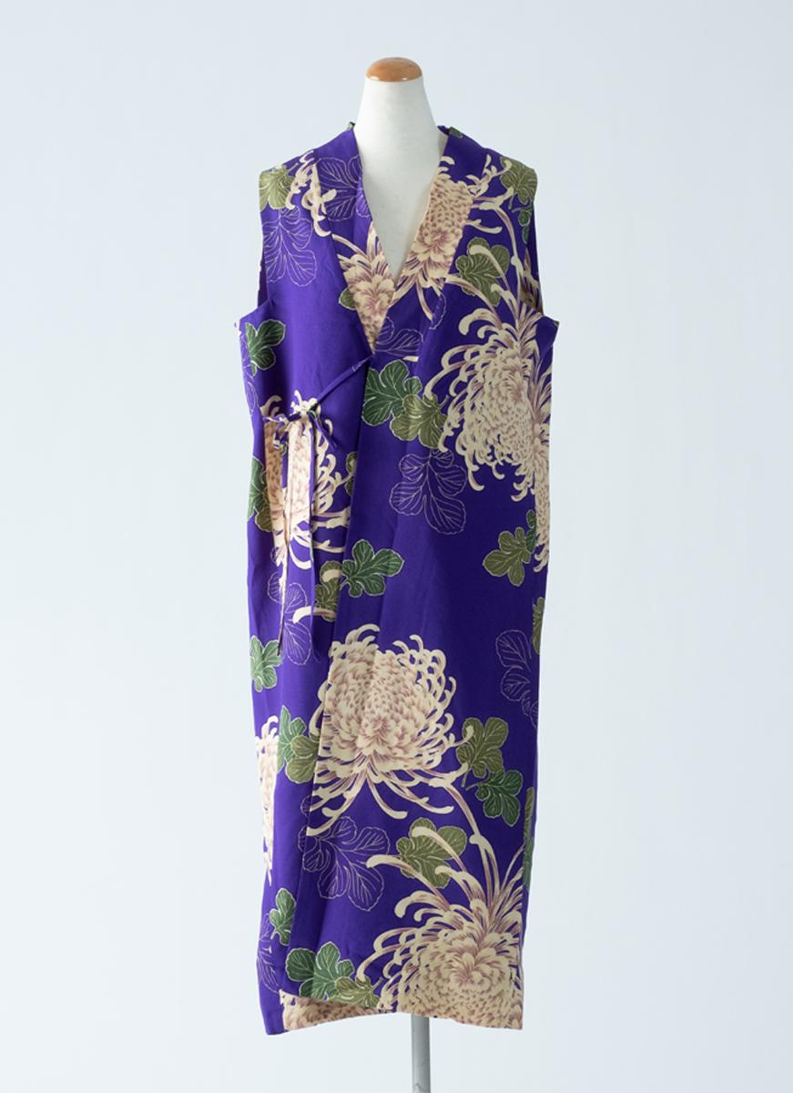 菊花模様 スリーブレスドレス 着物 正絹製