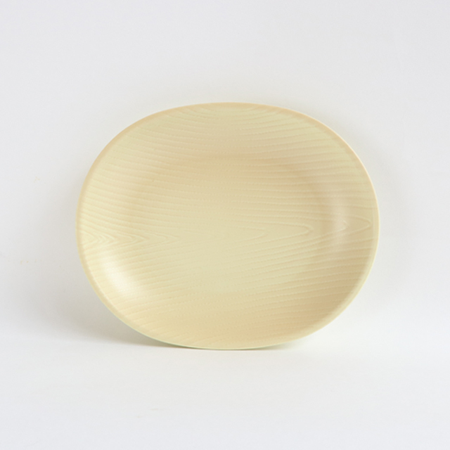 【DA-0393】メラミン樹脂製 16cm オーバルプレート ナチュラル