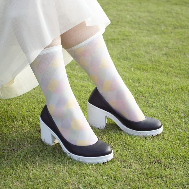 紬POP|ソックス|龍郷柄風 パステルmix|adP00012