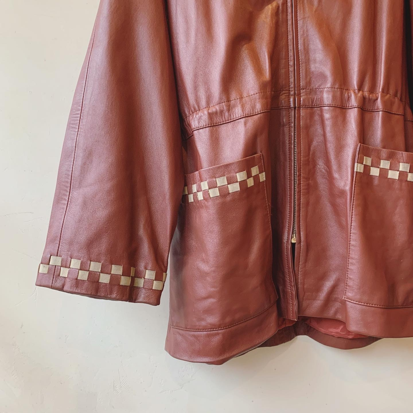 vintage hoodie leather jacket