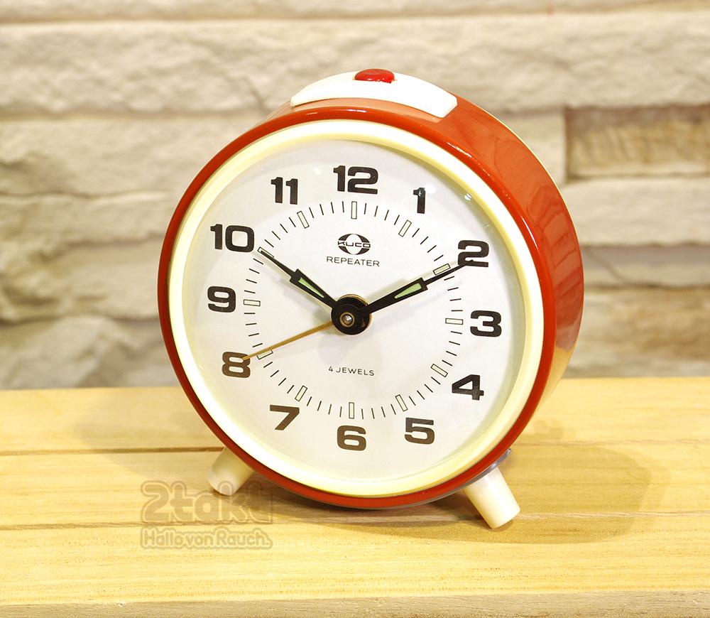 【Vintage品】ソビエト製 デッドストック 手巻き目覚まし時計 KUCO レッド /0055