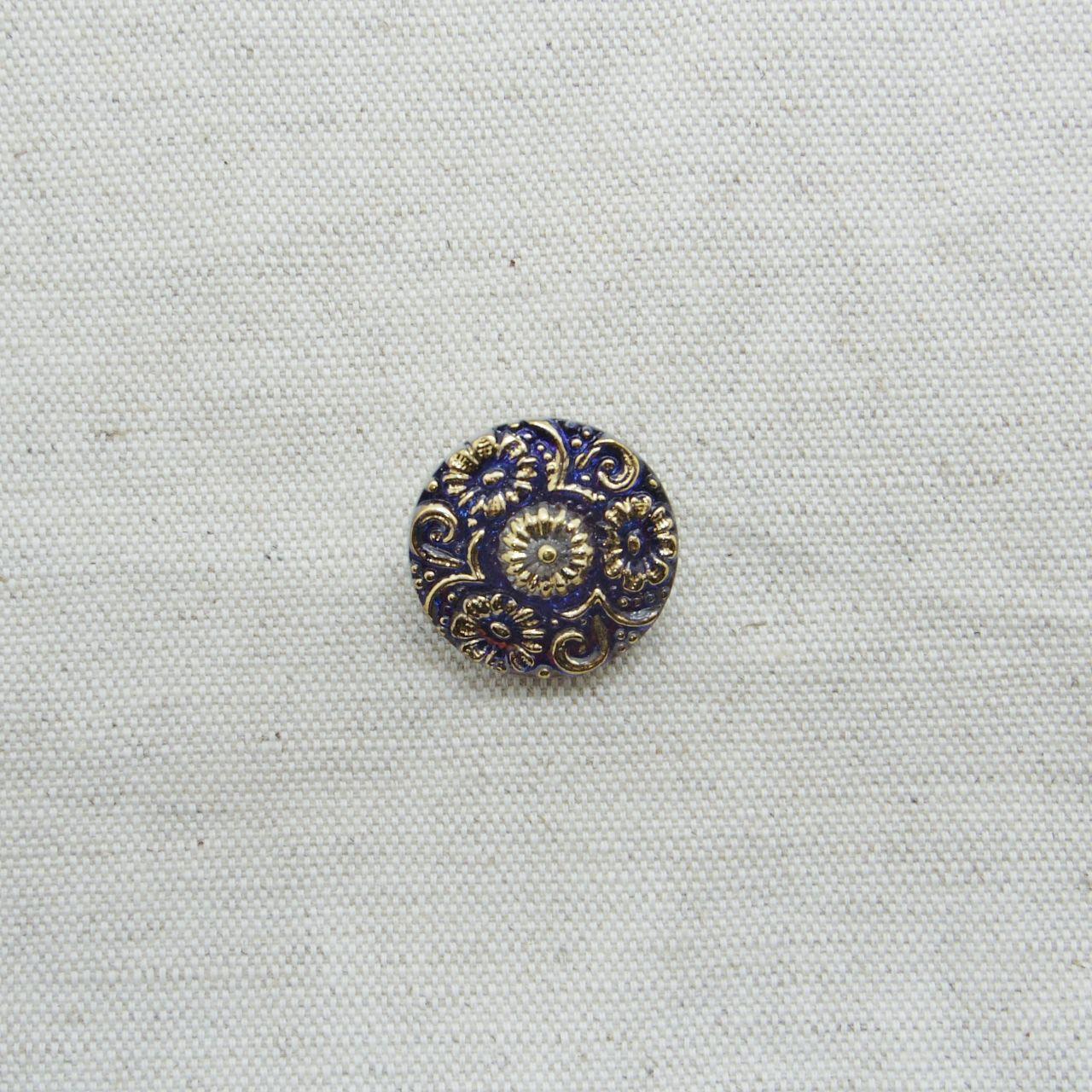 【チェコガラスボタン】花模様・パープルブルー ::: 中2.3cm
