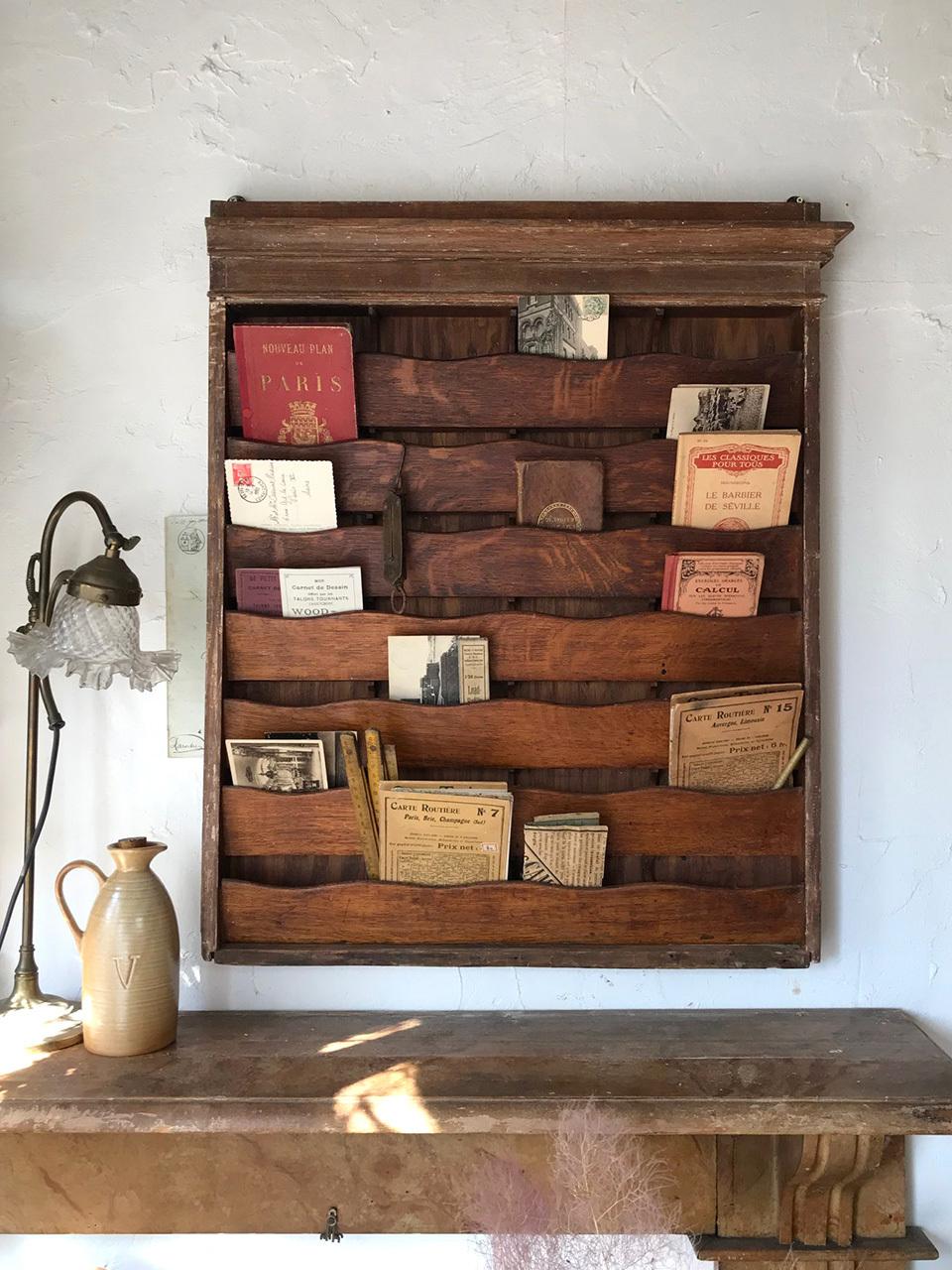 木製 レターラック 壁付けシェルフ 4列7段