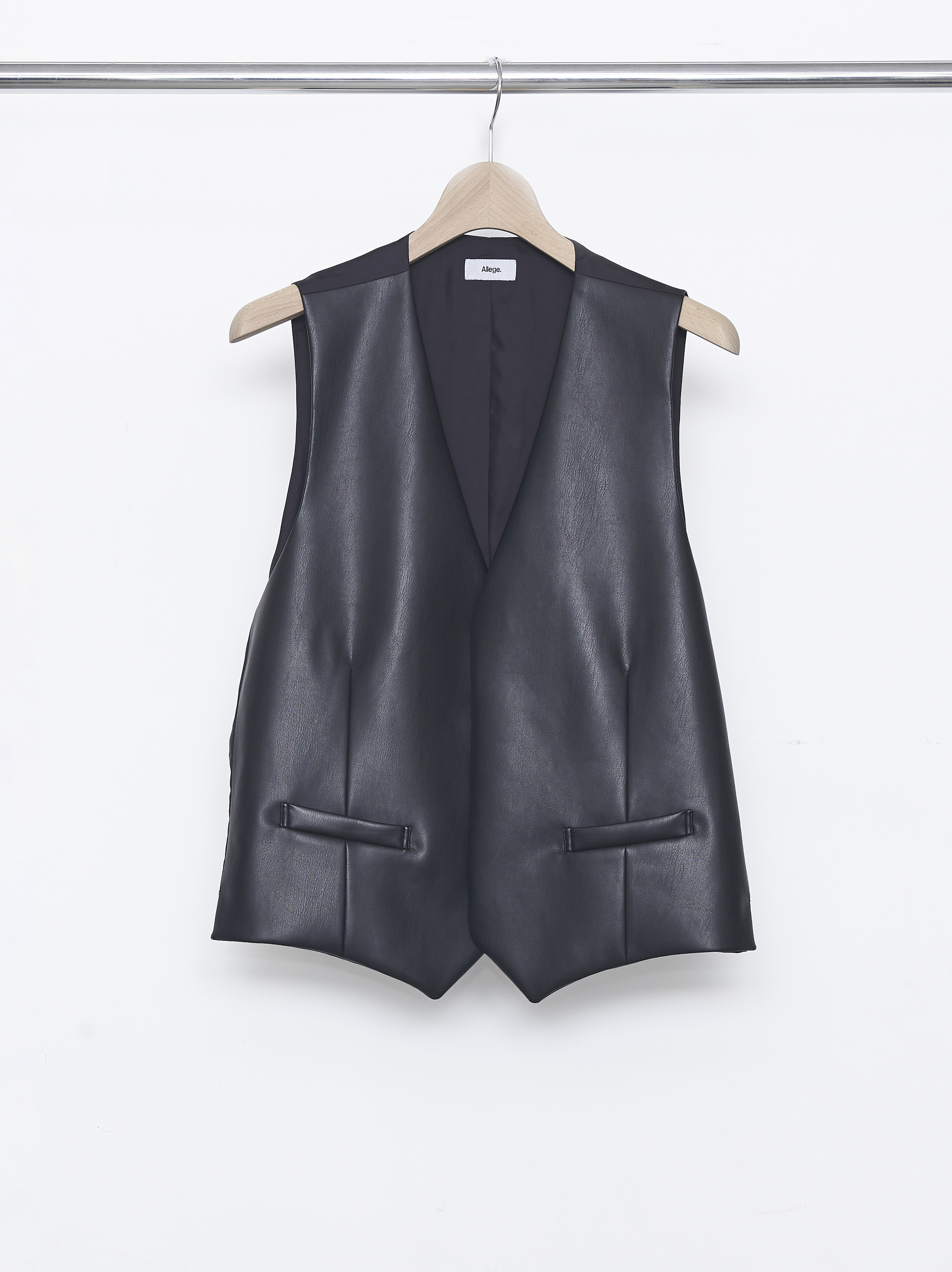 Synthetic Leather Gilet - Black