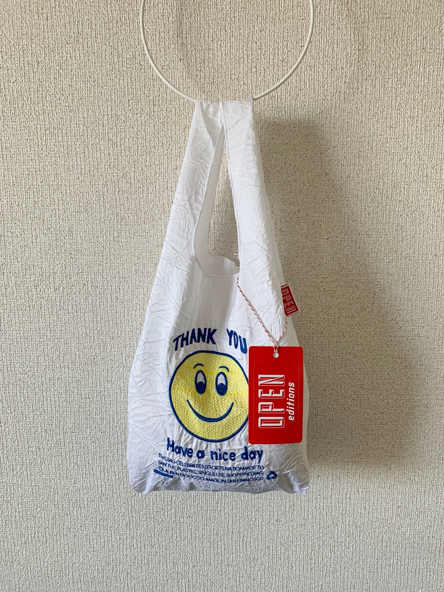 【OPEN EDITIONS】THANK YOU MINI エコバッグ/ SMILE White